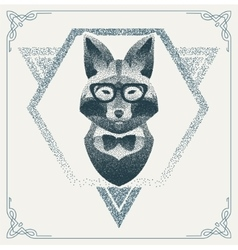 Halftone hipster fox with black Dots vector image vector image