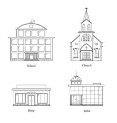 Linear Buildings Set vector image vector image
