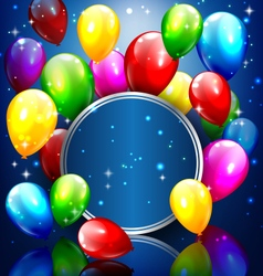Multicolored inflatable balloons with circle frame vector image vector image