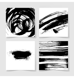 Set of four black ink brushes grunge pattern hand vector