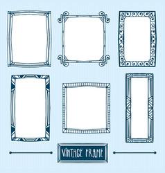 set of hand drawn vintage frames vector image vector image