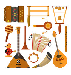 set of russian folk music instruments in vector image vector image