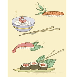 drawn seafood icons vector image vector image