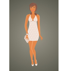 fashion glamor girl in dress - vector image