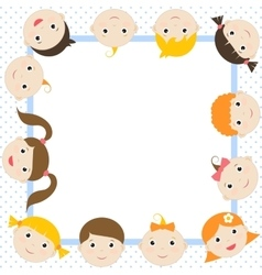 frame with funny kids vector image vector image