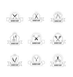 hairdresser logo set with vintage scissors hair vector image