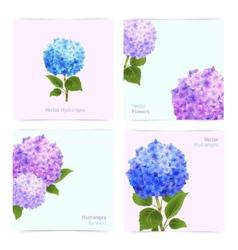 Hydrangea Cards Set vector image vector image