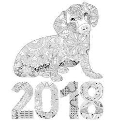 number 2018 zentangle with dog decorative object vector image vector image