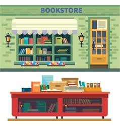 Storefront and a shelf with books vector image vector image
