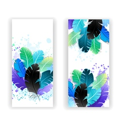 Two Banners with Bright Feathers vector image vector image