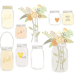 Vintage Wedding Flowers with Mason Jar vector image vector image