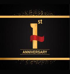 1 year anniversary logotype with premium gold vector