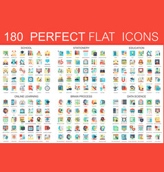 180 complex flat icons concept symbols of vector image