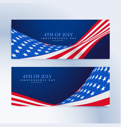 American flag 4th july banners vector