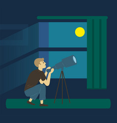 Astronomy hobby man with telescope moon vector
