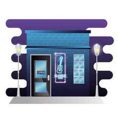 Bar classic music building facade with neon label vector