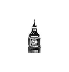 big ben black on white background vector image