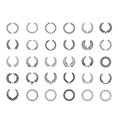 Big collection of black laurel wreaths vector image