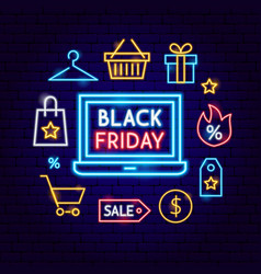 black friday laptop neon concept vector image