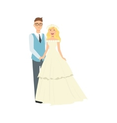 Blond Bride With Loose Hair And Groom Newlywed vector