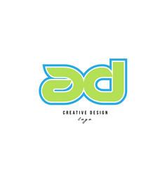 Blue green alphabet letter ad a d logo icon design vector