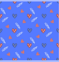 blue heart valentines day seamless pattern vector image