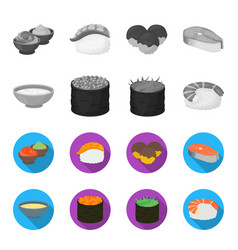 Bowl of soup caviar shrimp with rice sushi set vector