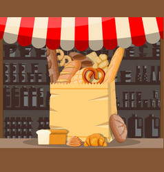 bread products and market stall vector image