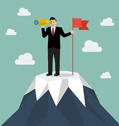 Businessman looking for business future with flag vector