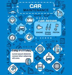 Car spare parts vehicle wheel tire auto service vector