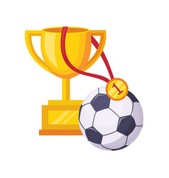Champions cup ball and medal set school and vector