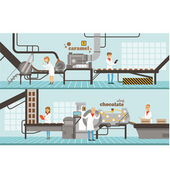 Chocolate and caramel factory production lines set vector