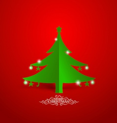 Christmas greeting card with origami Christmas vector image