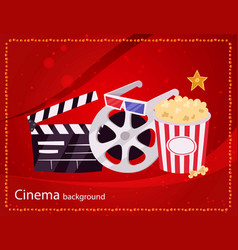 cinema movie and popcorn bowl film bobbin and vector image