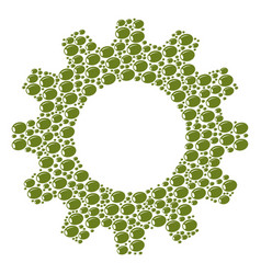 cog mosaic of olive icons vector image