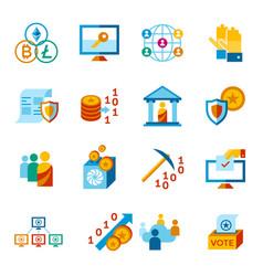 crypto democracy icons set vector image