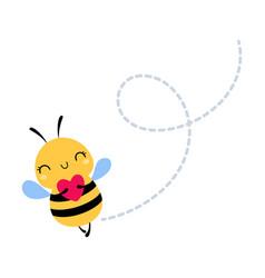 Cute honey bee holding red heart lovely flying vector