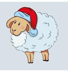 Cute sheep in Santas hat vector image