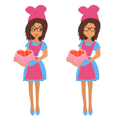 cute woman holding baking tray vector image