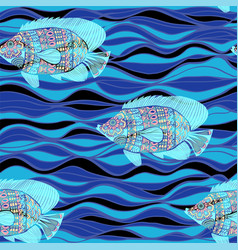 decorative fish pattern and blue waves seamless vector image