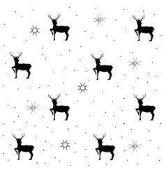 Deer and christmas tree on gray seamless pattern vector