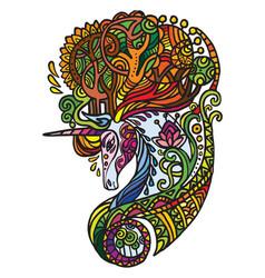 doodle forest unicorn vector image