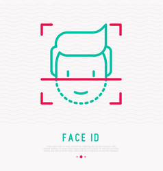 Face id thin line icon vector