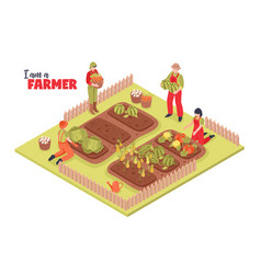 Farmers garden isometric background vector