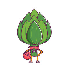 funny vegetable artichoke character vector image