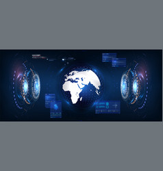 futuristic earth in style hud great design vector image