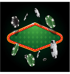 gambling casino banner with flying chips vector image