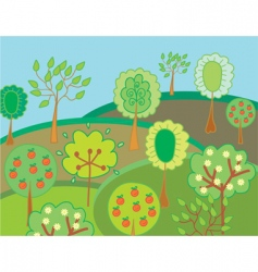garden with trees vector image