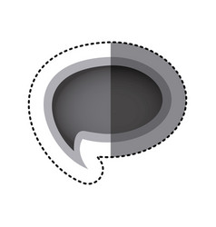 grayscale sticker of cloud speech with tail vector image