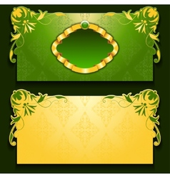 green invitation card with frame vector image